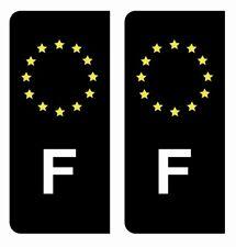 Autocollant Stickers plaque d'immatriculation Noir voiture F France Europe jaune