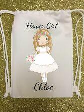 PERSONALISED - flower girl - WEDDING GIFT BAG - drawstring flowers pretty