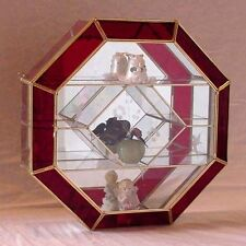 16X16 Octagon RED STAINED GLASS & BRASS mirrored CURIO BOX CABINET display