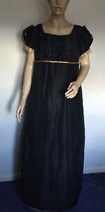 Regency Dress, Jane Austen, Taffeta, Antique Gold Trims, Size 16, Free UK P&P
