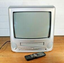 "Bush BTV18SIL Portable 14"" CRT Cube TV VHS VCR Player Combi, Remote Retro Gaming"