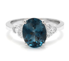 3.00 Carats Natural LONDON BLUE TOPAZ and Diamond 14K White Gold Ring