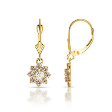 1Ct White / Pink Sapphire Flower Cluster Dangle Leverback Earrings 14K Y Gold