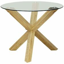 GRADE B - Saturn Small Solid Oak Dining Table Glass 950mm Round