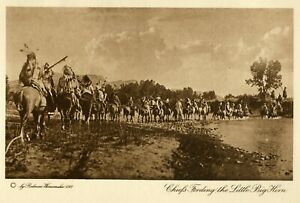American Indian Photogravure- 1913- Wanamaker- Fording the Little Big Horn