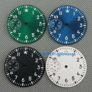 37mm sterile Luminous black green watch Dial Fit ETA 6497 Seagull st36 Movement