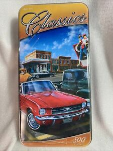 MasterPieces Classics 500 Piece Jigsaw Puzzle Tin Ford Mustang Dan Hatala Sealed
