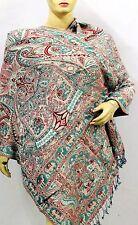 Indian Pashmina Silk Women shawl reversible scarf Kashmir wool neck Wrap