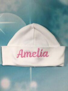 Personalised Baby newborn Hat Beanie Cotton 0-3 Months White Pink or Blue Hat