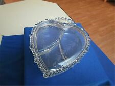 VINTAGE PADEN CITY GLASS ENGRAVED LID HEART SHAPE TRINKET JEWELRY BOX 3 PART