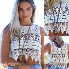 Sexy Fashion Women Beach Vest Shirt Crop Top Bralette Lace Sleeveless Blouse Tee