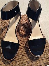 Calvin Klein Codina 2-tone black patent wedges 7.5 brand new