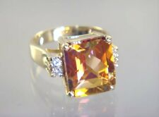Twilight Fire Topaz, 10KY or 14KY Solid Gold Ladies Ring, R183-Handmade