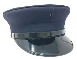 Vintage Midway Cap Company Dress Hat Fire Fighter Navy Blue 5 Eyelets 7 1/8 READ