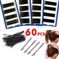 60Pcs Bulk Invisible Hair Clips Flat Top Bobby Pins Grips Salon Barrette Black #