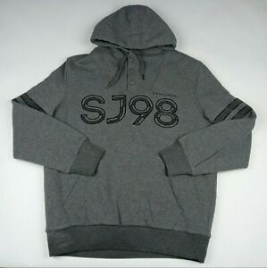 SEAN JOHN Pullover Hoodie Sweatshirt Fleece Lined SJ98 Hip-Hop Gray Men's Large