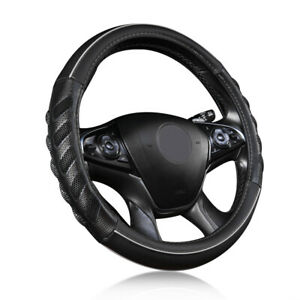 Universal Car Steering Wheel Cover Leather Grey Black Odorless Auto Accessories