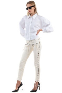 RRP €1970 BEN TAVERNITI UNRAVEL PROJECT Leather Trousers Size 26 Lace-Up Sides