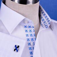 White La Plata Formal Business Dress Shirt Mens B2B Designer With Fluer De Lis