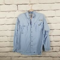 Columbia PFG Blue Long Sleeve Mens Size Small Vented Fishing Shirt