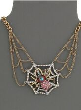 Betsey Johnson Spider Lux Spider Web Frontal Necklace NWT!