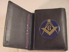 MASON MASONIC HIGH GRAIN QUALITY BLACK LEATHER TRIFOLD WALLET NEW