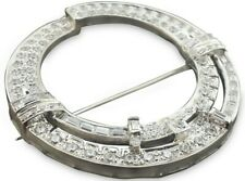 925 Sterling Silver Mid Century White Round Circle Design Handmade CZ Brooch Pin