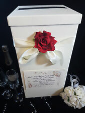 Indian Wedding Card Post Box Red Rose Ivory Ribbon Personalised Flower Well
