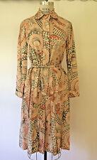 Vtg 70s Silk Dress Shirt & Skirt Set w/ Belt Hippie Flower Power Boho B 38