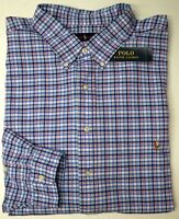 NWT $98 Polo Ralph Lauren Cotton LS Shirt Mens Blue Red Plaid Oxford NEW Classic