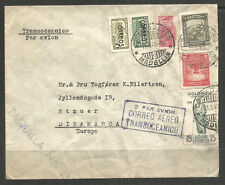 More details for colombia. 1949. air mail cover to denmark. medellin postmark. taquilla & transoc