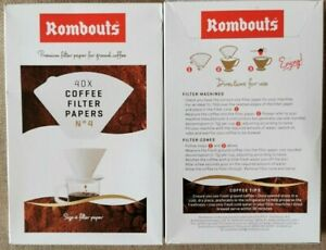 2 Packs of Rombouts 40 Coffee Filter Papers (80 Papers) size No 4 New