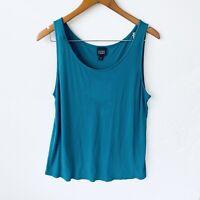 Eileen Fisher Women's 100% Silk Jersey Scoop Neck Tank Top Size XLarge Teal Blue