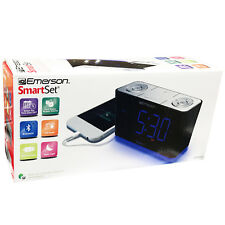 "Emerson SmartSet CLOCK RADIO Dual Alarm 1.4"" LED USB CHARGER BLUETOOTH SPEAKER"