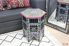 Moroccan Table Zouak Moucharaby Fretwork Hand painted Black (ZT203)