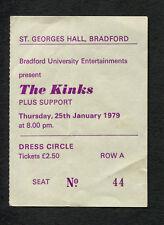 1979 Kinks concert ticket stub Bradford UK Low Budget You Really Got Me