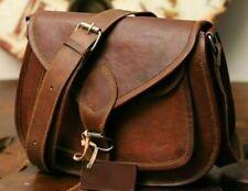 """Large Women's 15"""" Sling Bag Real Vintage Leather Messenger Satchel Shoulder Tote"""