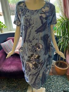 MADE IN ITALY BLUE FLORAL LINEN BLEND SMOCK DRESS SIZE M/L 14 16 LAGENLOOK
