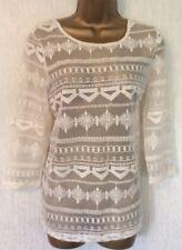NEXT* Ecru Beige Sheer Lace Casual Top. SIZE 10, Pretty BOHO BOHEMIAN