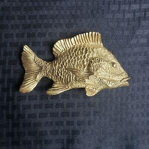 Vintage Sheepshead Fish Brass Belt Buckle