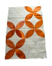 Cowhide Patchwork Rug 4x6 ft Dyed Orange White Floral Textured Cowskin Rug
