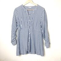 J Jill Popover Striped Relaxed Tunic Button Down Loose Shirt Size XS