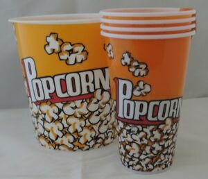 NEW 5 piece set Popcorn Holders & Bowl Plastic Containers Reusable Tub Bucket