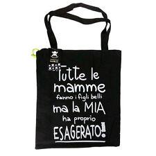 """Shopper SMEMORANDA negro de tela """"todos Mama do"""" con cremallera 43,5X38,5cm"""