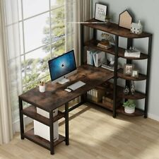 Tribesigns Industrial Computer Desk with 5 Tier Storage Shelves 67