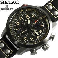 SEIKO PROSPEX SOLAR CHRONOGRAPH SSC423P1 BLACK LEATHER BAND SSC423 MEN WATCH