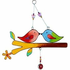Colourful Love Birds Suncatcher on a Branch Hanging Decoration Glass 22cm Height
