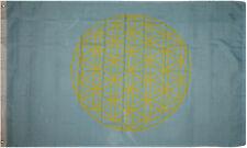3x5 Blume des Lebens Hellblau Grob Tex Gestrickt Flagge 0.9mx5' Ösen