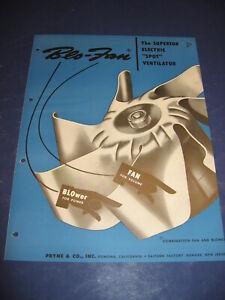 1950's Blo-Fan Fan Catalog Pryne & Company retro Kitchen Bath Vintage Lighting