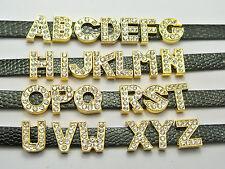 "26 Gold Alloy Rhinestone Alphabet Letter ""A-Z"" Slide Charm Fit 8mm Wristbands"